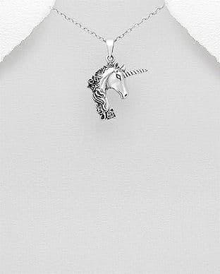 925 Sterling Silver Oxidized Unicorn-Pegasus Pendant & Chain